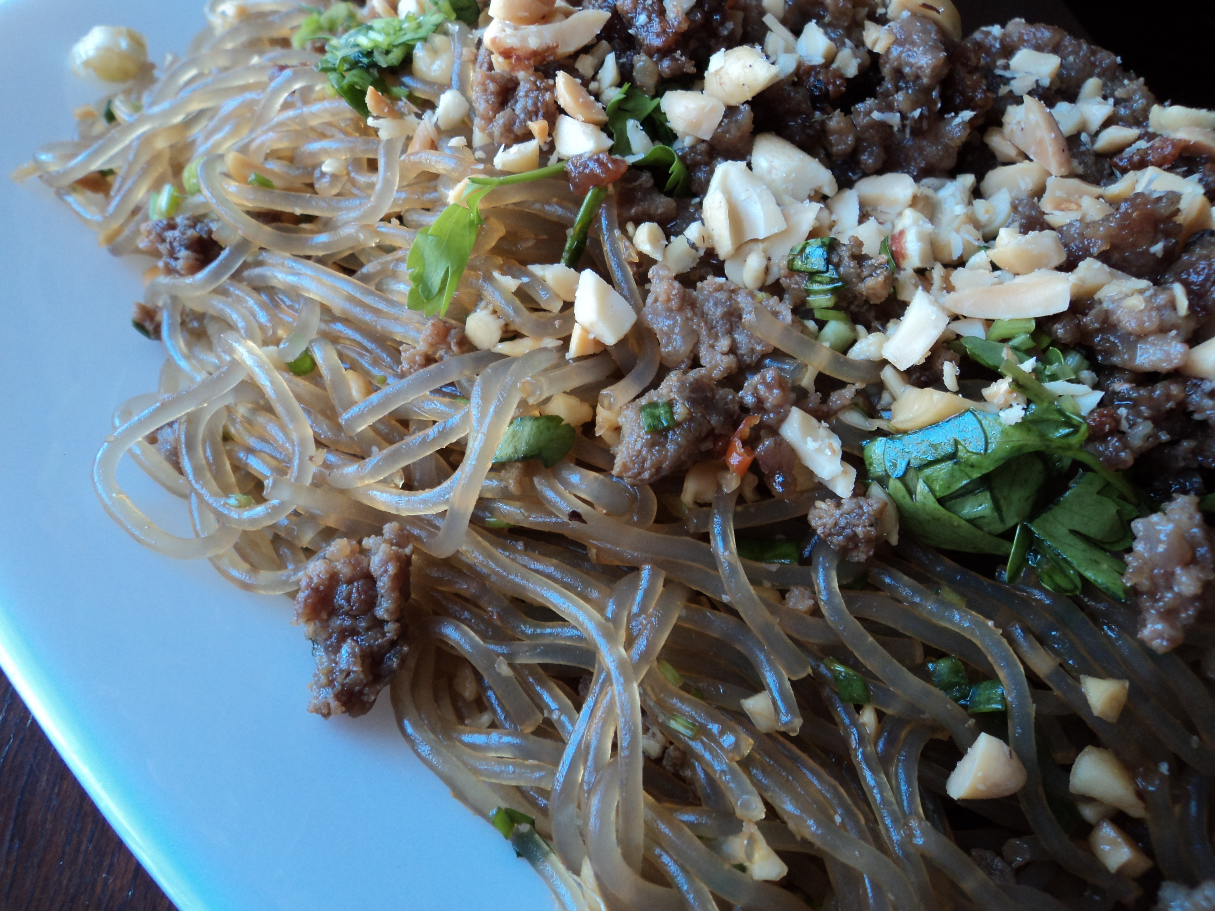 Spicy Glass Noodles With Crispy Pork (Yum Woon Sen) Recipe ...
