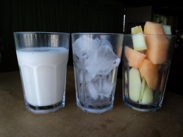 Milk, ice, and melon