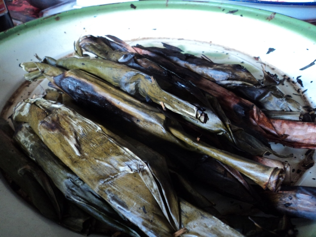 What would be latik but spicy and steamed (they said it's leftover from making coconut oil!)