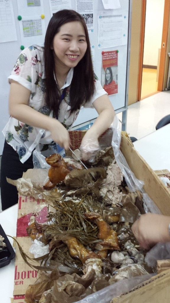 A friend turned butcher, left with the head and some of the flavorings inside of the lechon :s