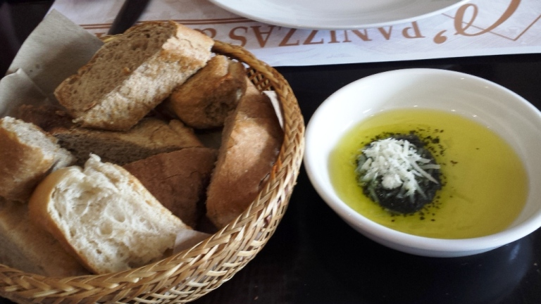Bread, pesto and olive oil