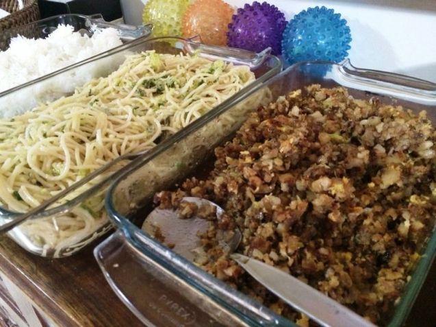Truffle pasta and sisig