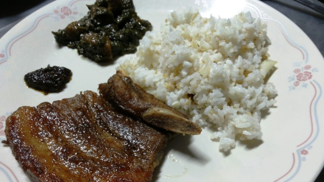 With chili, laing, and garlic rice