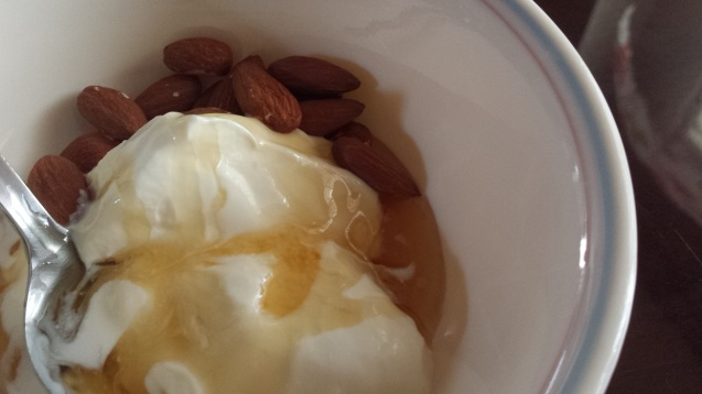 With honey and almonds