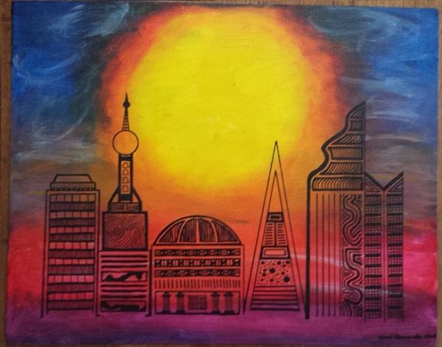 "Acrylic on canvas board 16"" x 20"""