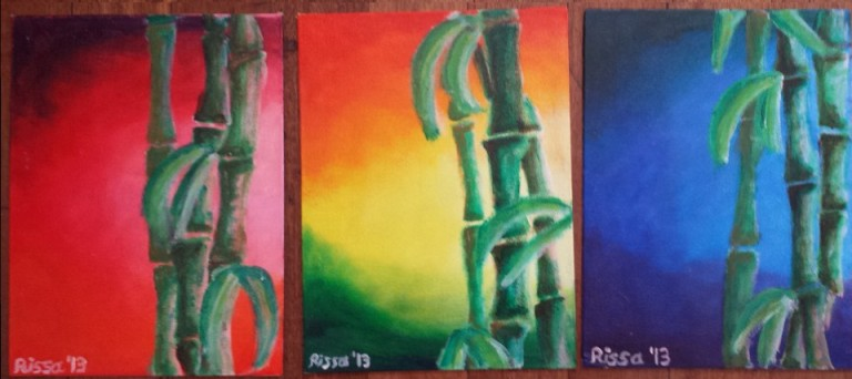 'Primary Bamboo' Acrylic on canvas board 3 pieces