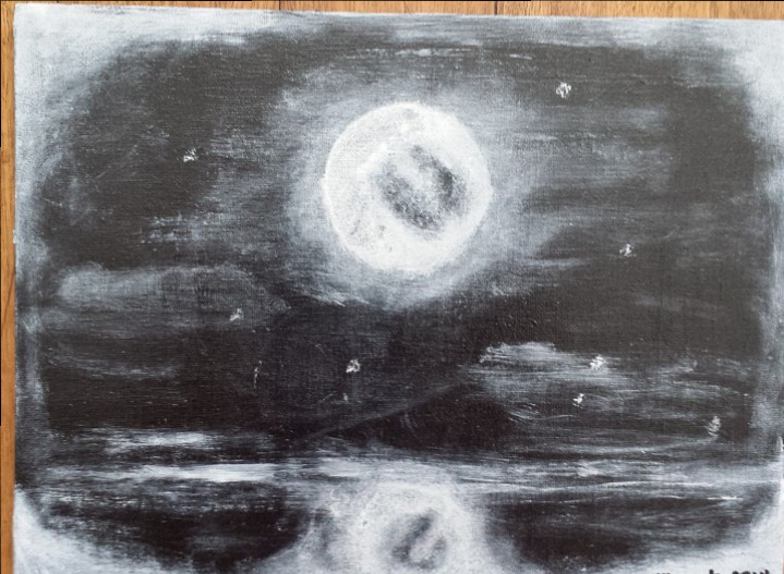 "'Silver moon' Acrylic on canvas board  9"" x 12"""