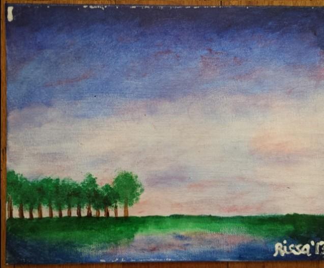 "Blue Sky Acrylic on canvas board 8"" x 10"" With tear on upper left corner"