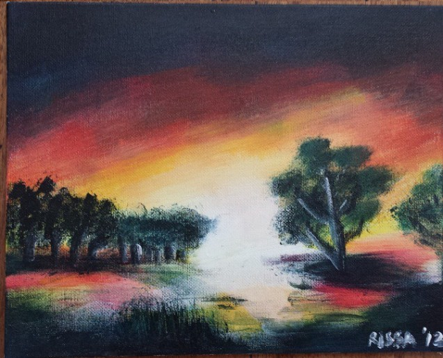 "Sunset Series Acrylic on canvas board 8"" x 10"""