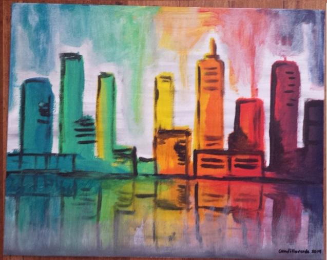 """Rainbow Buildings Acrylic on canvas board 16"""" x 20"""""""