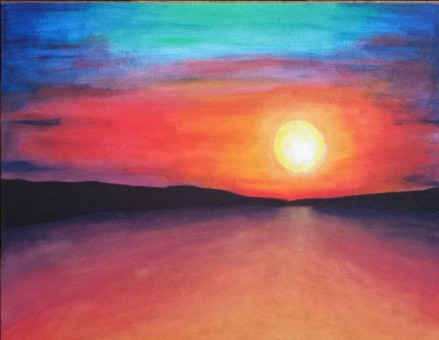 "Sold! ""GOLDEN SUNSET"" 18 by 20 inches Acrylic on canvas board"