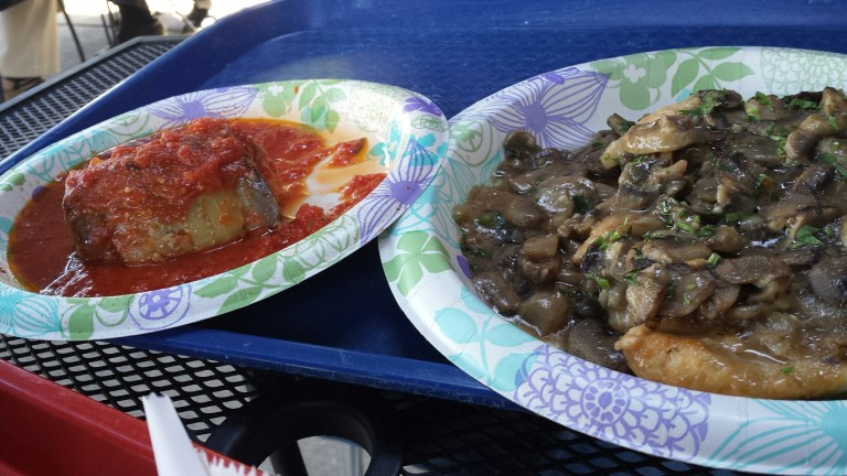 My eggplant dish and Matt's chicken dish