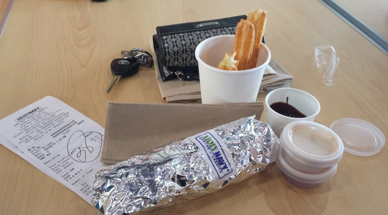 Breakfast burrito and churros