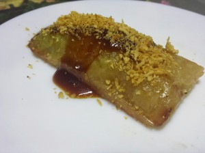 Suman with latik and coconut jam