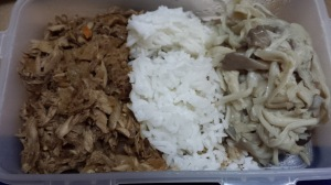 Tuna sisig, rice, and mushroom