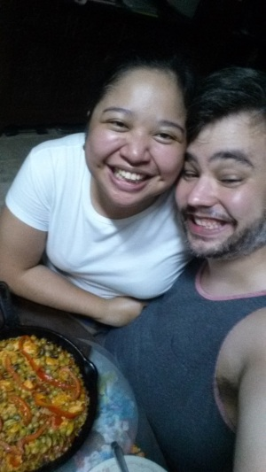 Us with the paella before eating